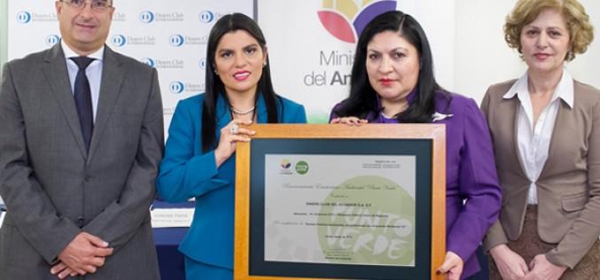 Diners Club recibió Reconocimiento Ecuatoriano Ambiental Punto Verde